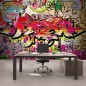 Preview: Vlies Fototapete 220 - Graffiti Tapete Kinderzimmer Graffiti Streetart Graffitti Sprayer 3D bunt braun