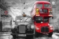 Preview: Fototapete BUS + TAXI 175x115 London Westminster rot coloriertes SW-Bild England