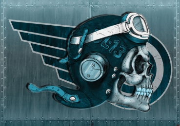 Vlies Fototapete 327 - Illustrationen Tapete Alchemy Deadly Ace Totenkopf Helm blau