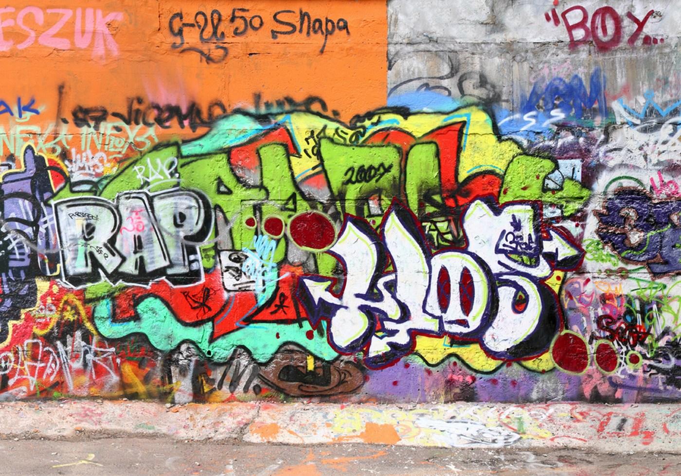 Vlies Fototapete 32 - Graffiti Stone WallKindertapete Tapete Kinderzimmer  Graffiti Streetart Graffiti Sprayer 3D bunt bunt
