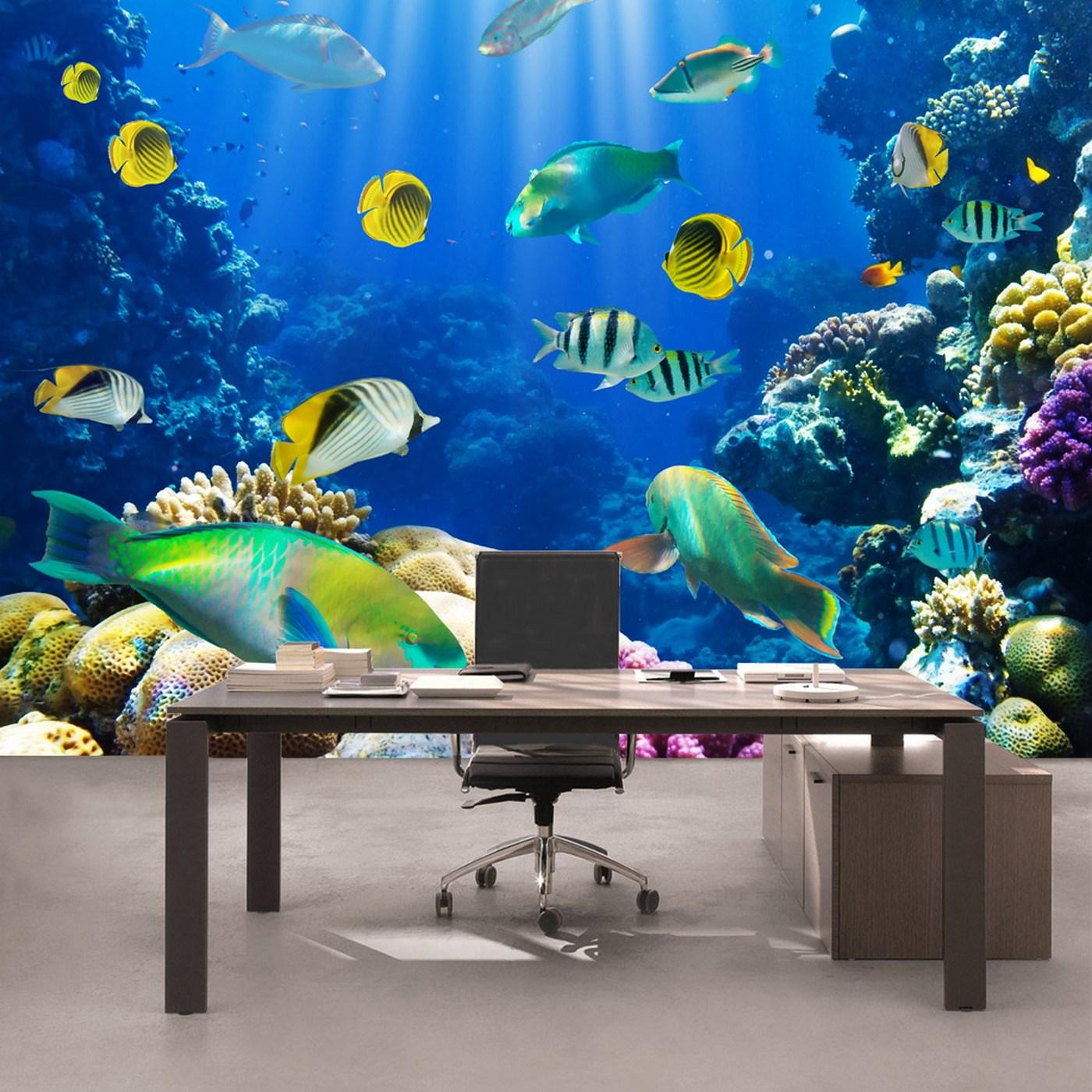 Vlies Fototapete  Underwater Worldtiere Tapete Aquarium Unterwasser Meereswelt Meer Fische Riff Korallenriff Blau