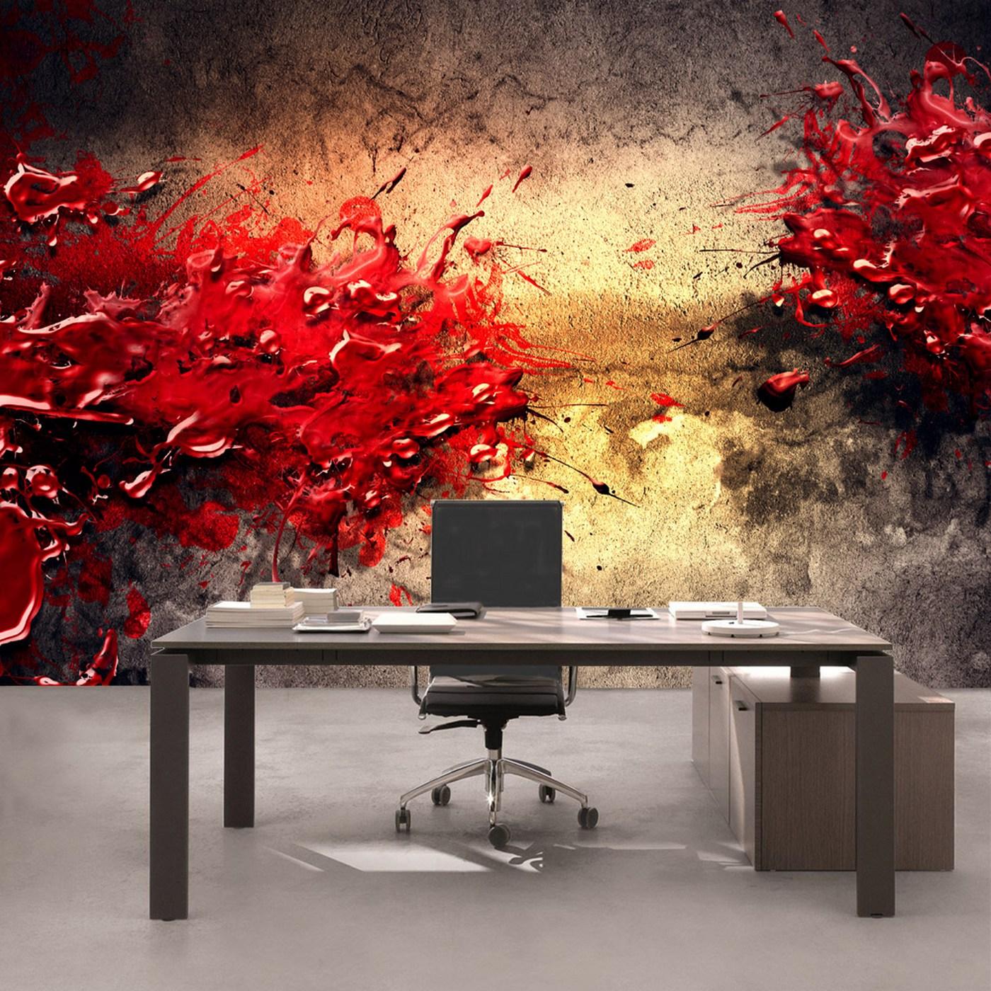 Vlies Fototapete 41   Paint Splatter Wall 3D Tapete Abstrakt 3D Wand Beige  Braun Farbspritzer Rot