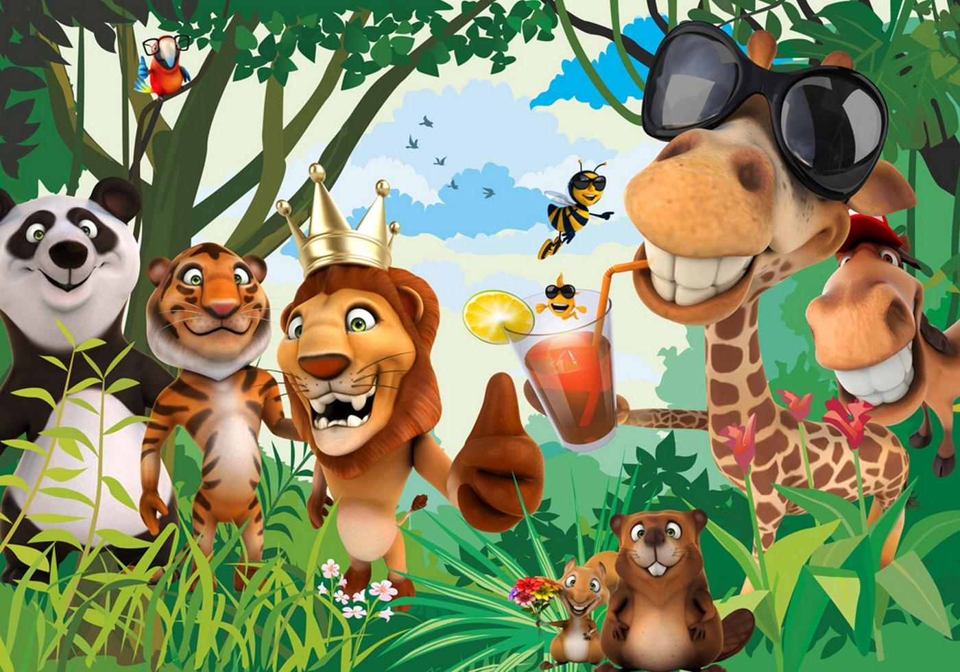 Dschungel Tapete Kinderzimmer | Kiss Fototapeten Zu Besten Preisen Fototapete Jungle Animals