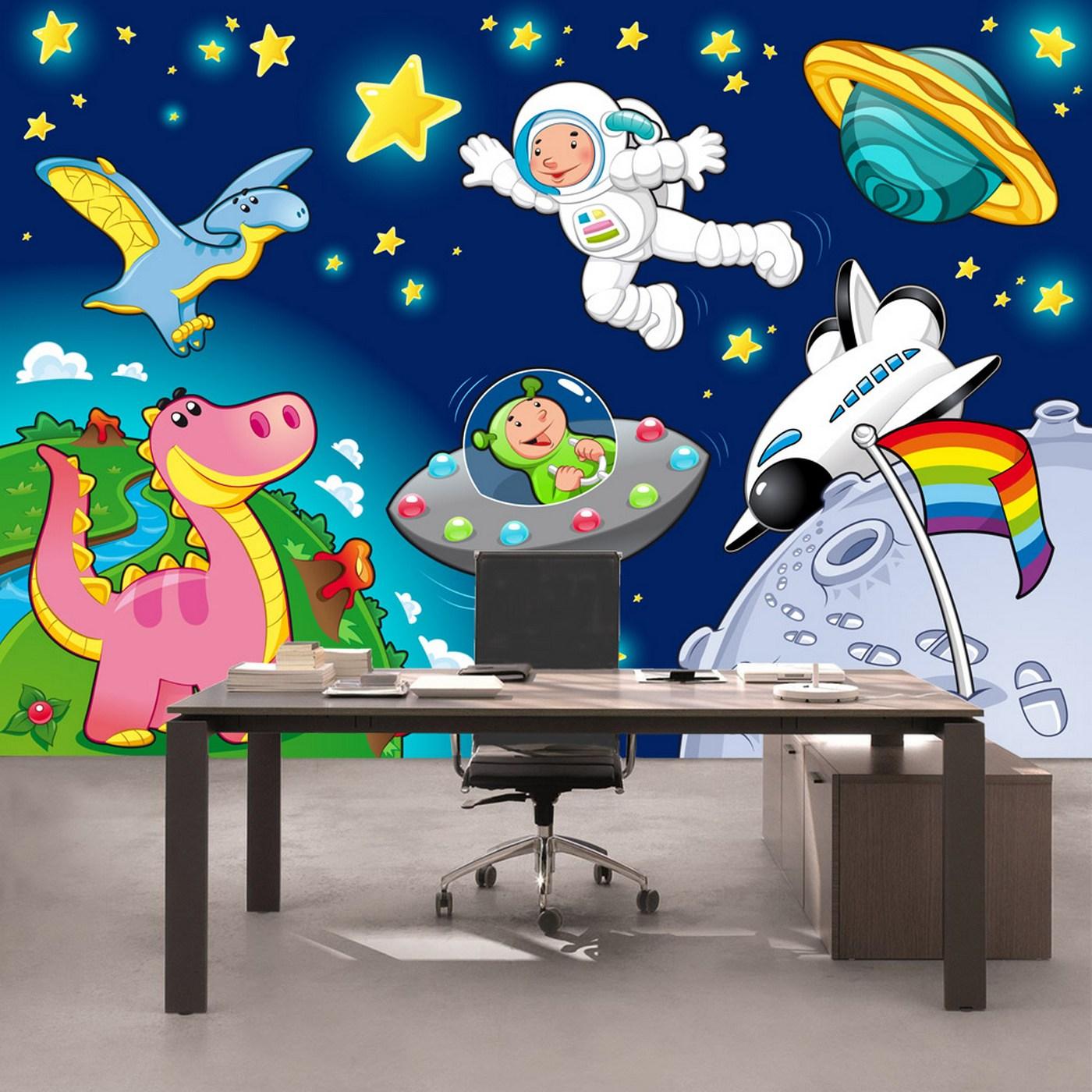 Vlies Fototapete 89 - Little Space Explorers Kindertapete Tapete  Kinderzimmer Weltraum Star All Weltall Mond Sterne blau