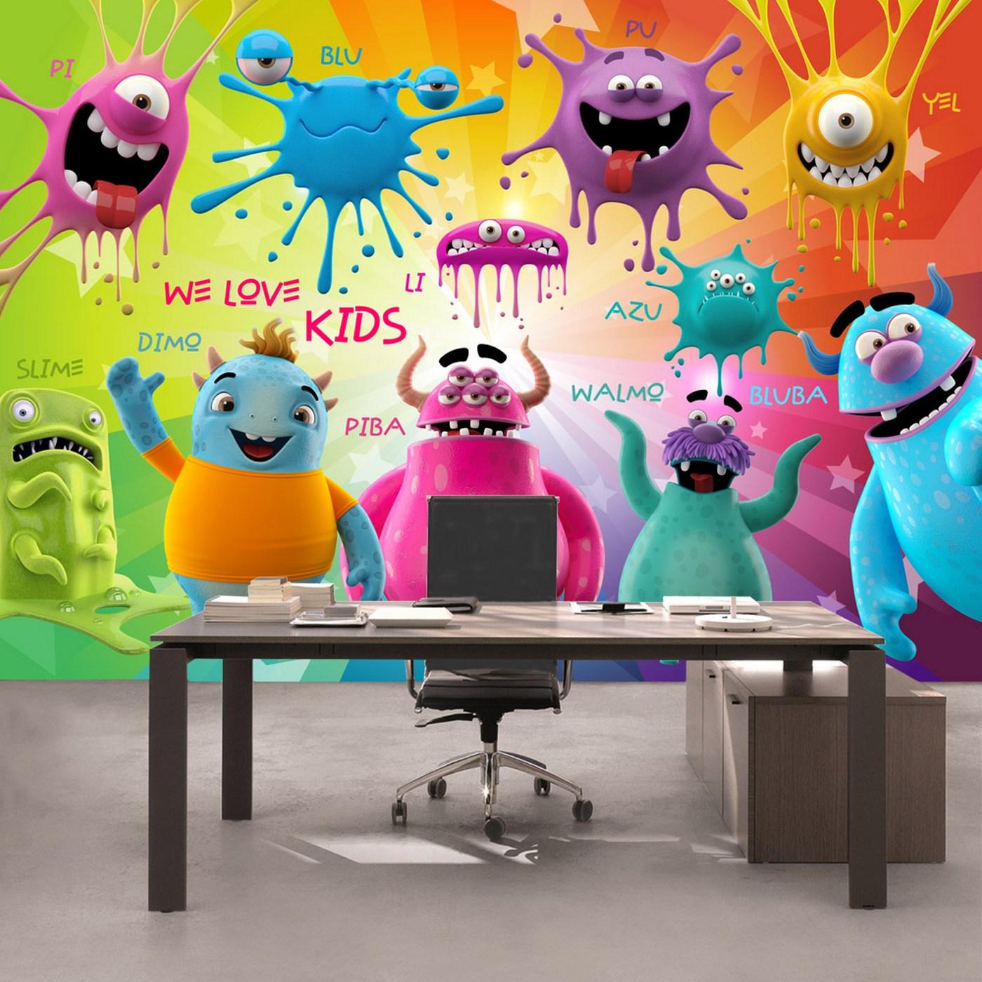 Vlies Fototapete 92 - Lovely Monsters Kindertapete Tapete Kinderzimmer  Kindertapete Comic Party Knuddel Monster bunt