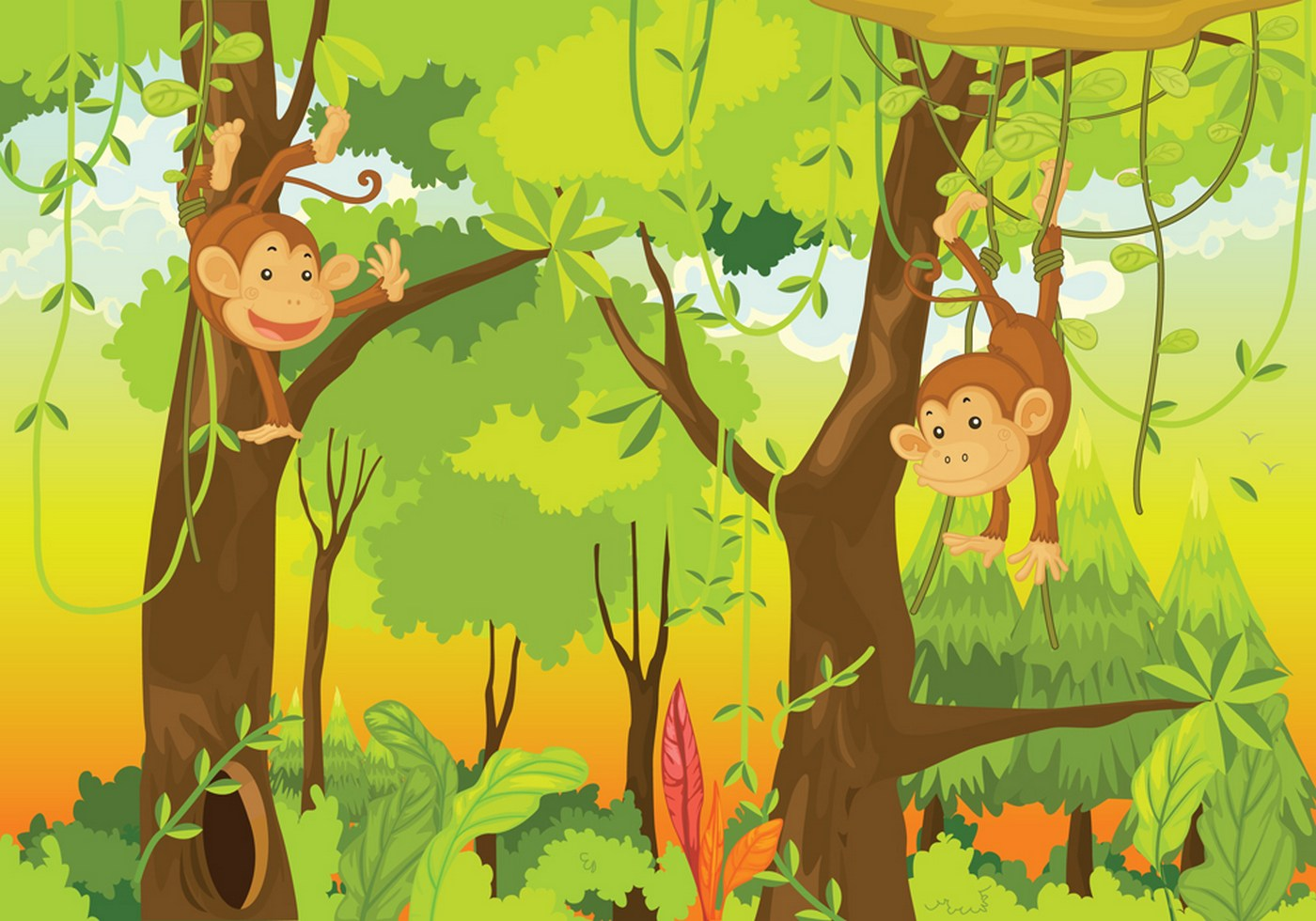 Vlies Fototapete  Jungle Animals Monkeys Kindertapete Tapete Kinderzimmer Safari Comic Affen Dschungel