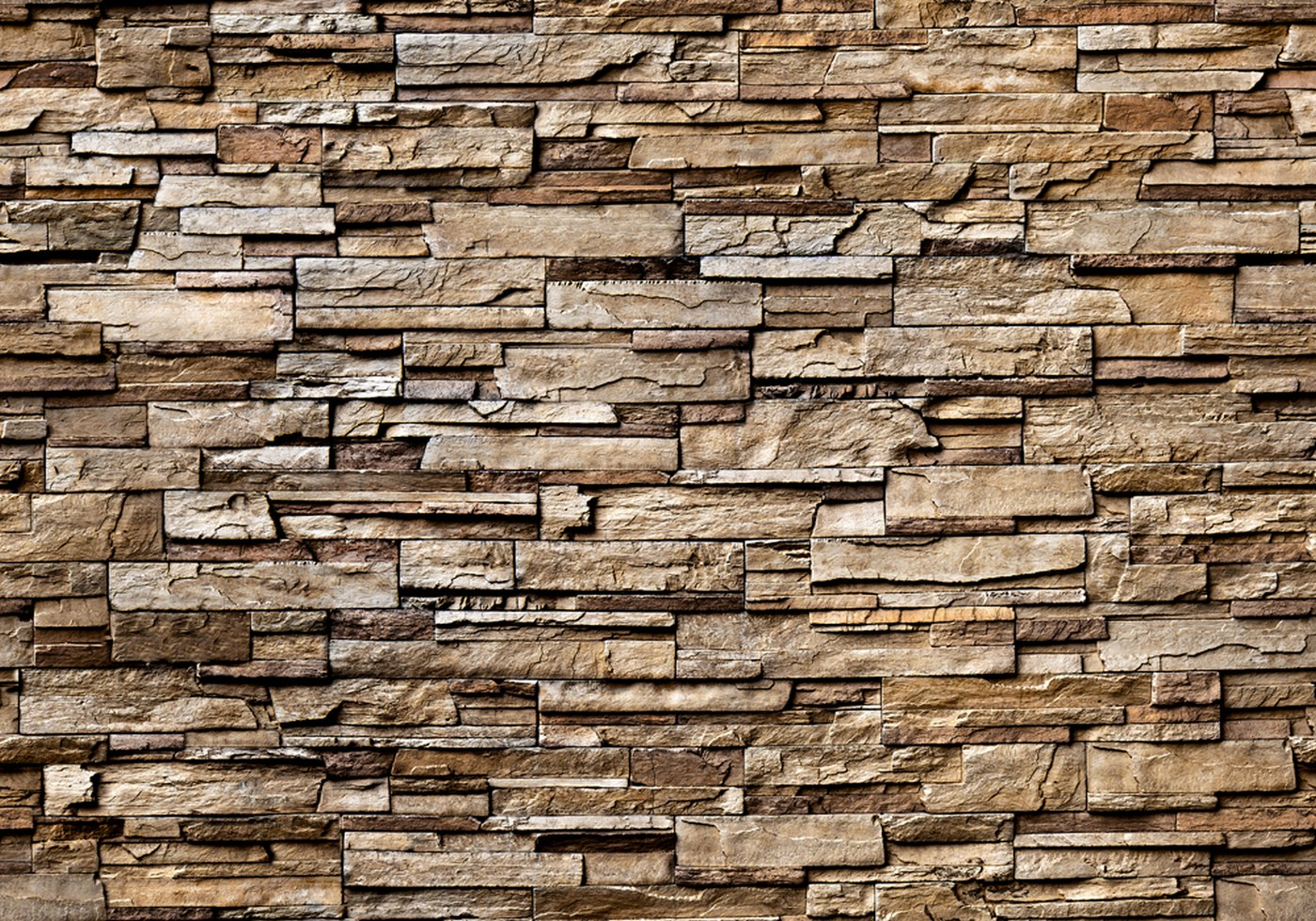 Vlies Fototapete 133 - Noble Stone Wall - braun - anreihbar Steinwand  Tapete Steinoptik Stein Wand Wall braun