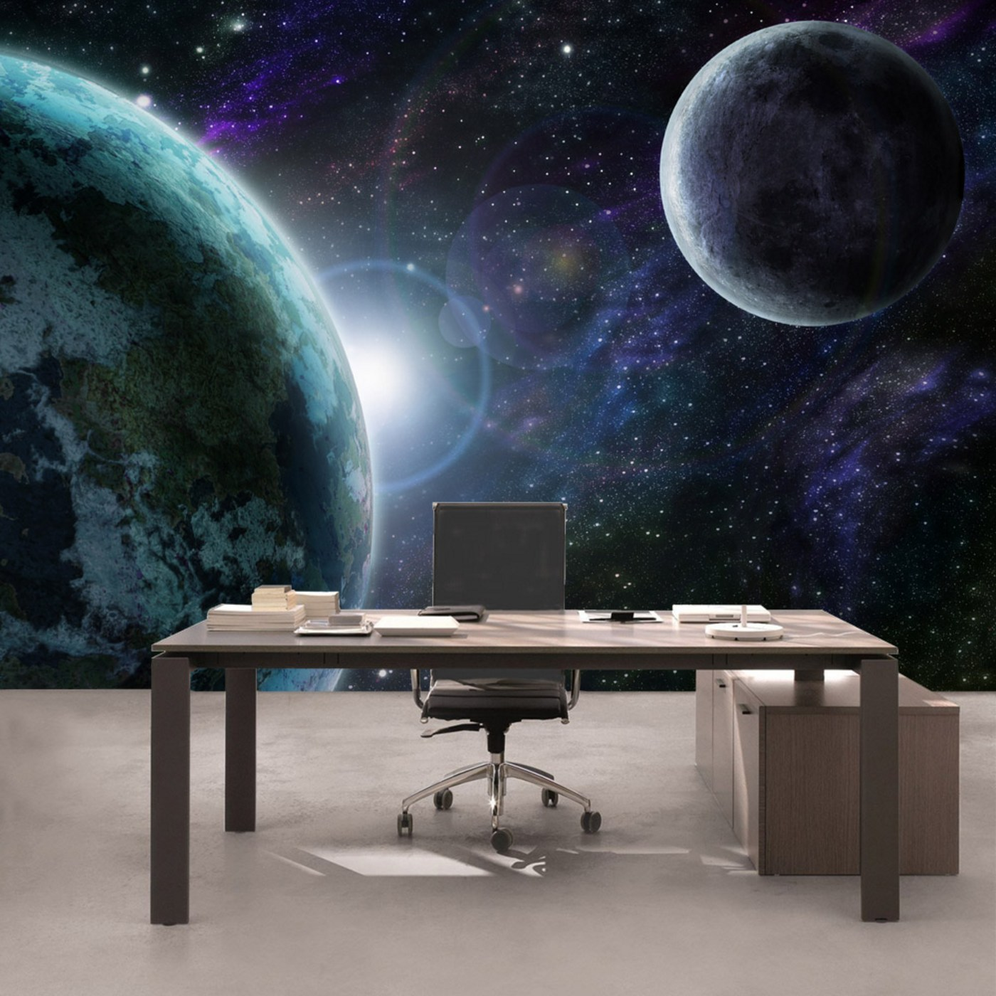 Vlies Fototapete  Welt Tapete Weltraum Erde Mond Weltall Grau