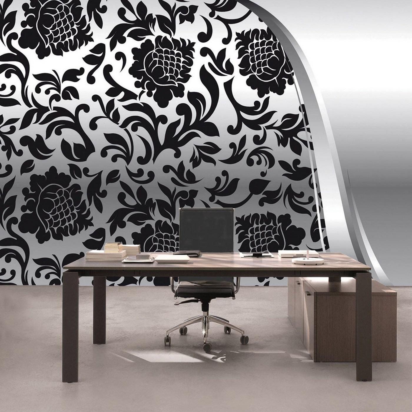 Vlies Fototapete 275 - Ornamente Tapete Ornamente Elegant Barock  schwarz-weiß Grau Blumig Wohnzimmer schwarz - weiß