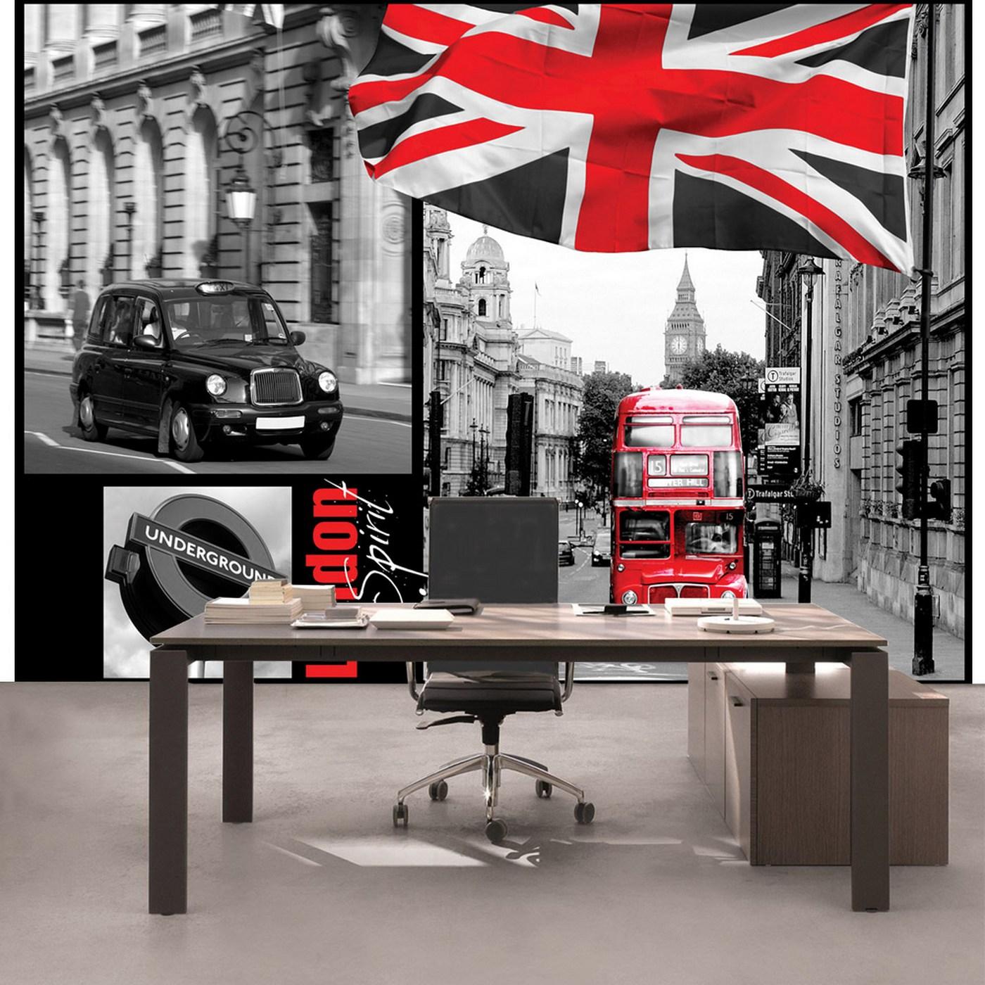 Vlies Fototapete 286 London Tapete London Bus Flagge Schwarz Weiß Rot Schrift Schwarz Weiß