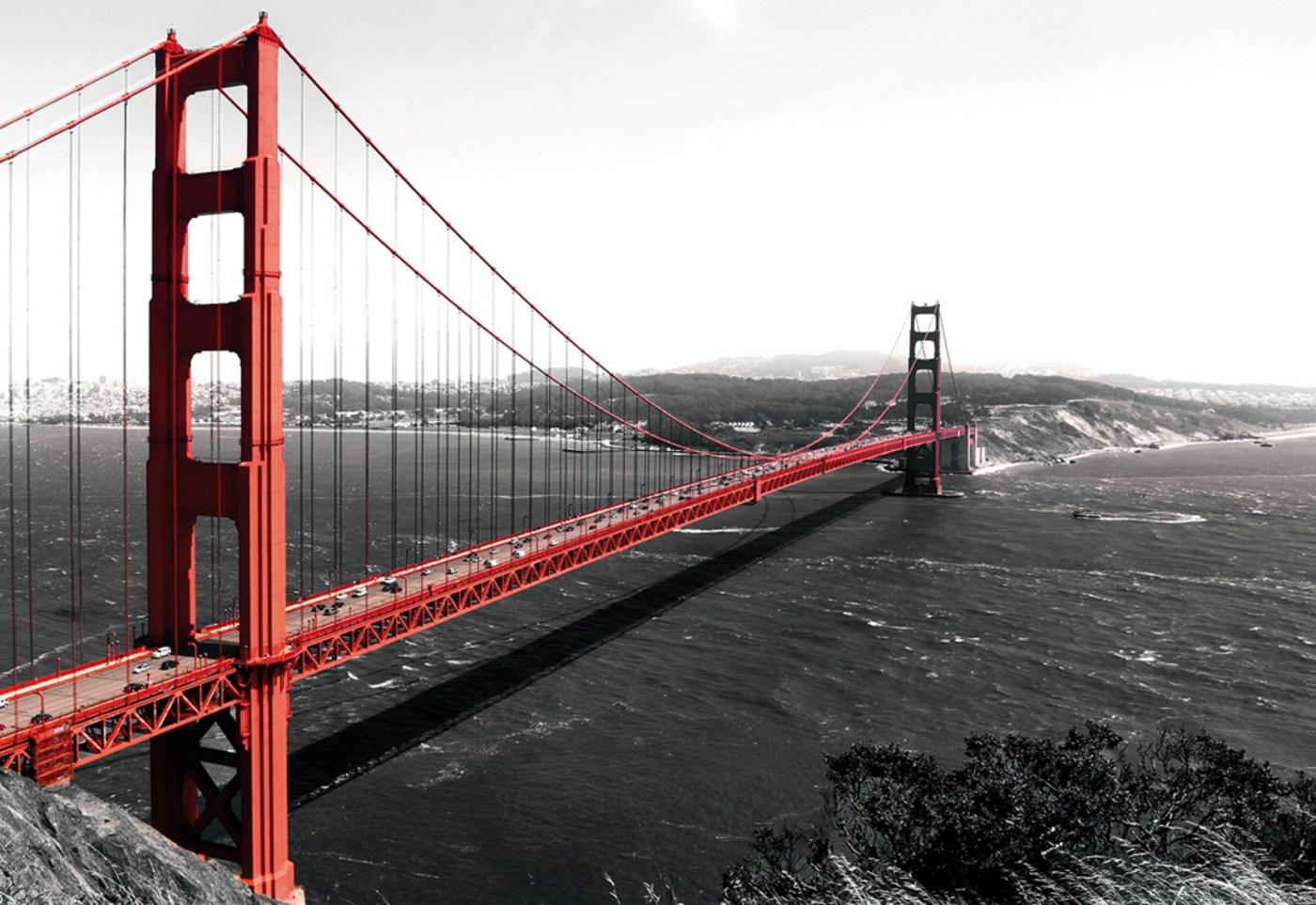 Vlies Fototapete 429 Usa Tapete Golden Gate Bridge Wasser Usa Schwarz Weiß Rot Rot