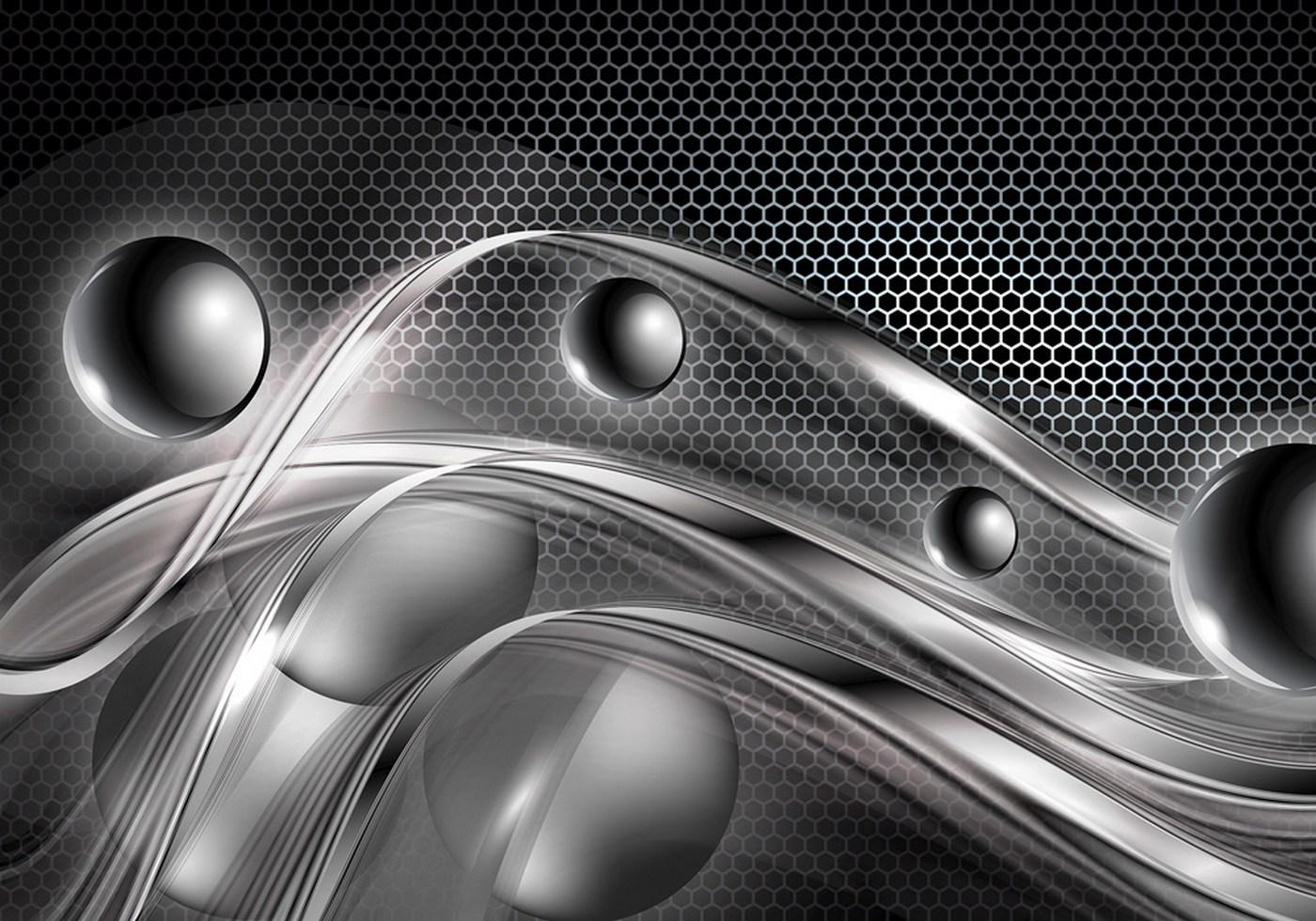Vlies Fototapete 759 3d Tapete Abstrakt Kugeln Muster Streifen Waben 3d Grau