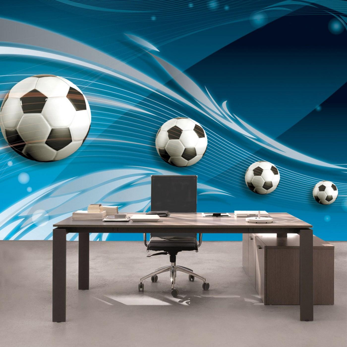 Vlies Fototapete  Fusball Tapete Ornamente Fusball Schlingen Kunst Blau