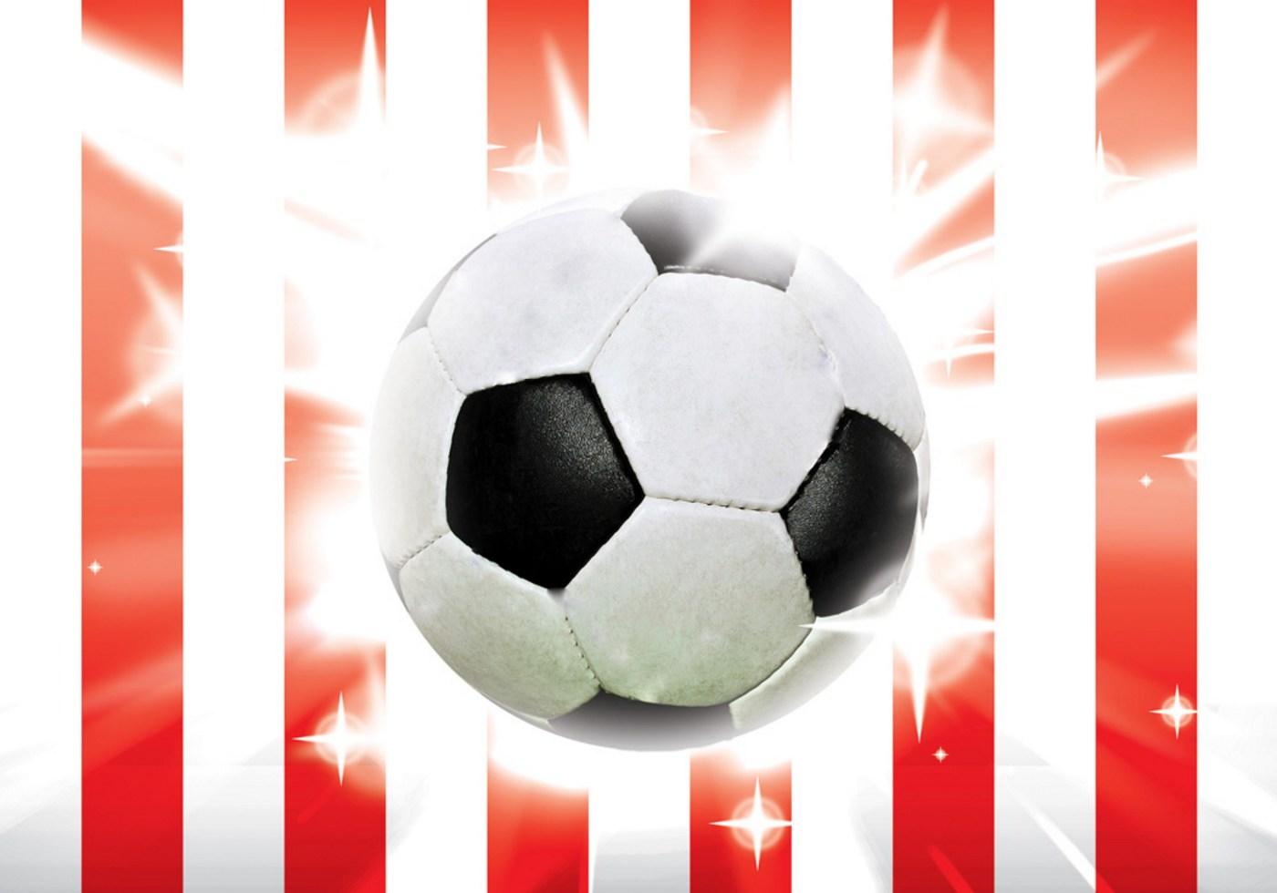 Vlies Fototapete 1034 Fussball Tapete Fussball Ball Sterne Soccer Rot Weiss Rot
