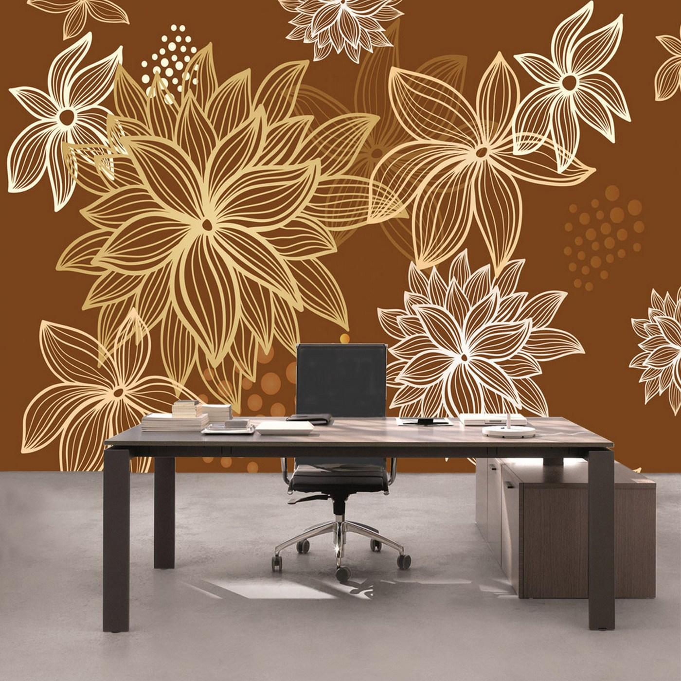 AuBergewohnlich Vlies Fototapete 1108   Illustrationen Tapete Abstrakt Blüten Weiß Braun