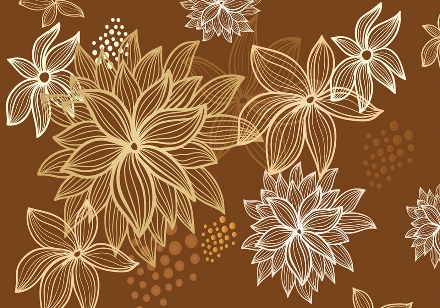Vlies Fototapete 1108   Illustrationen Tapete Abstrakt Blüten Weiß Braun