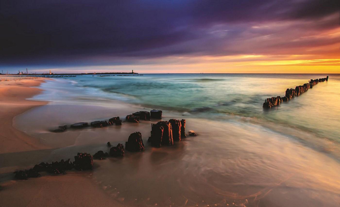 Vlies Fototapete 1190   Meer Tapete Strand Meer Sonnenuntergang Himmel  Sommer Urlaub Wasser Blau