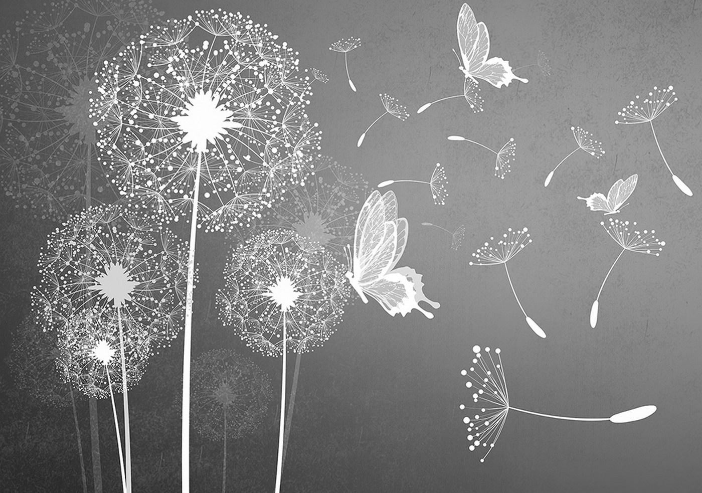 Vlies Fototapete  Pflanzen Tapete Pusteblume Blume Pflanze Schmetterling Malerei Grau
