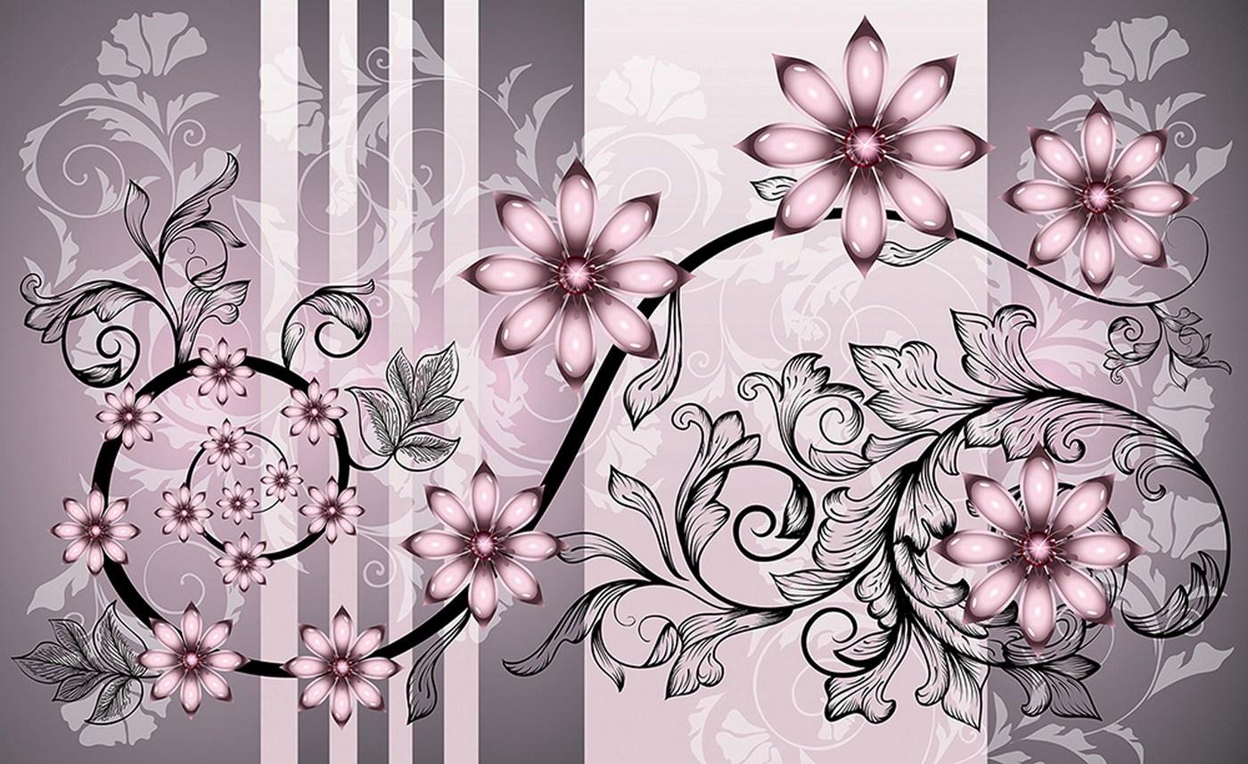 Vlies Fototapete  Blumen Tapete Blume Bluten Blatter Ornamente Rosa