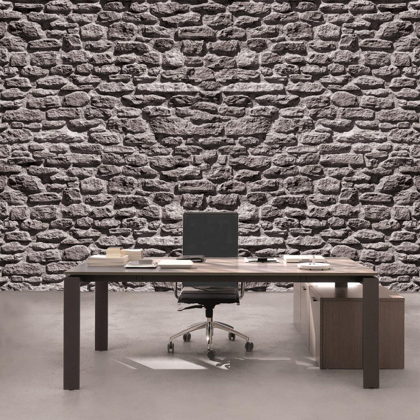 Vlies Fototapete 1618 - Steinwand Tapete Stein Steinoptik Steine Wand Wall  Steintapete grau