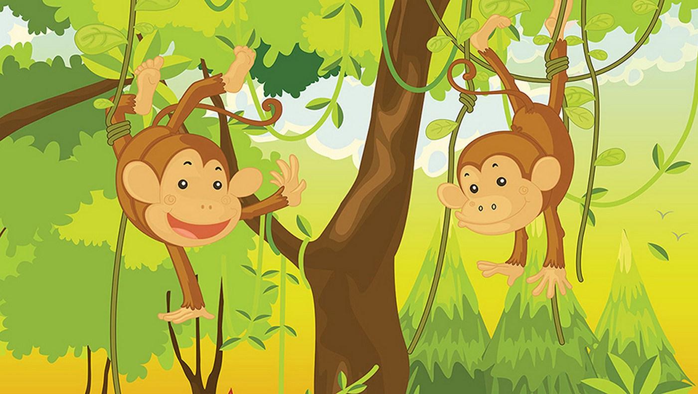 Рисунок обезьянка на дереве