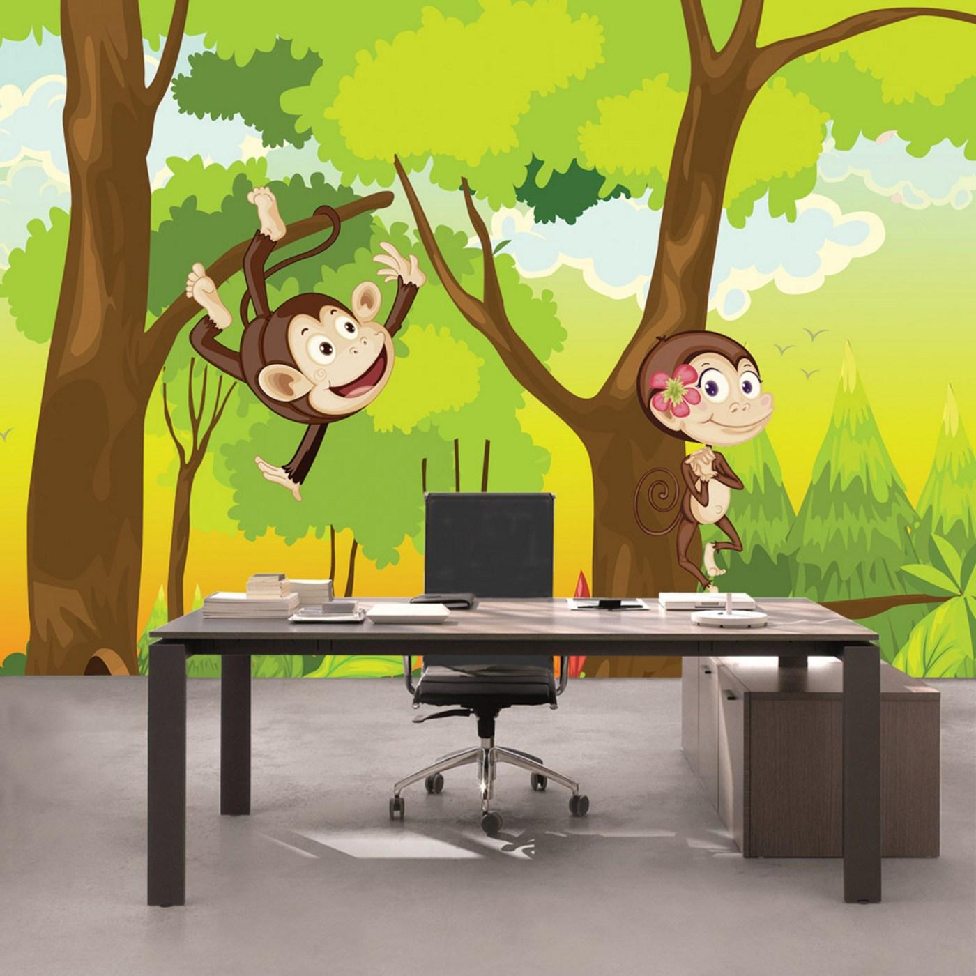 Vlies Fototapete 1756 - Illustrationen Tapete Kinder Affen Wald Bäume  Kindertapete Cartoon grün