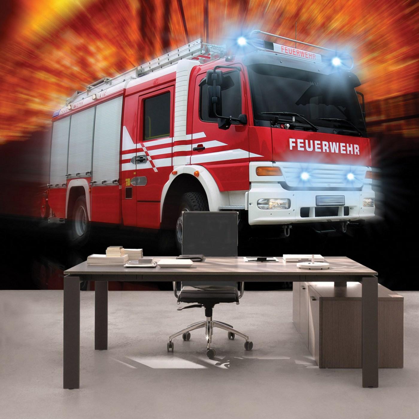 Vlies Fototapete  Autos Tapete Feuerwehr Feuerwehrauto Auto Blaulicht Rot