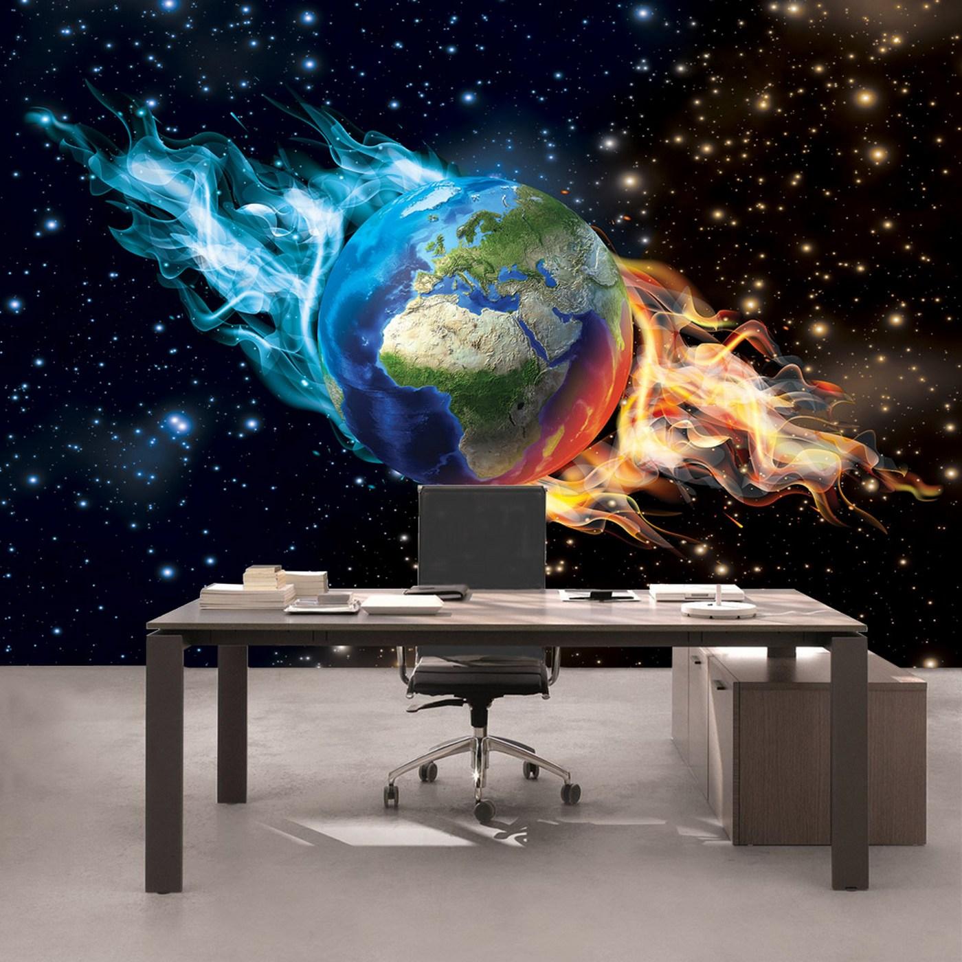 Vlies Fototapete 2437 - Welt Tapete Erde Welt Weltraum Sternenhimmel  Weltraum Galaxie schwarz