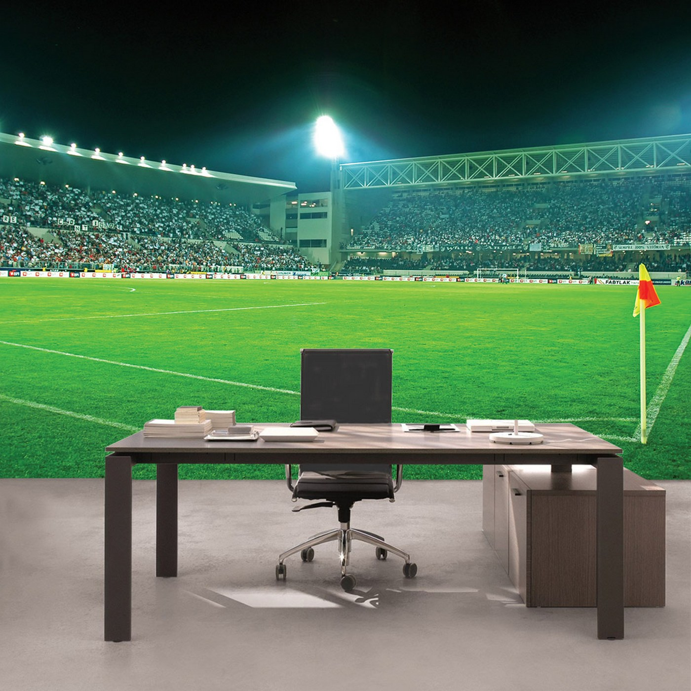Vlies Fototapete 2525 - Sport Tapete Fußball Stadion Flutlicht Rasen  Tribüne grün