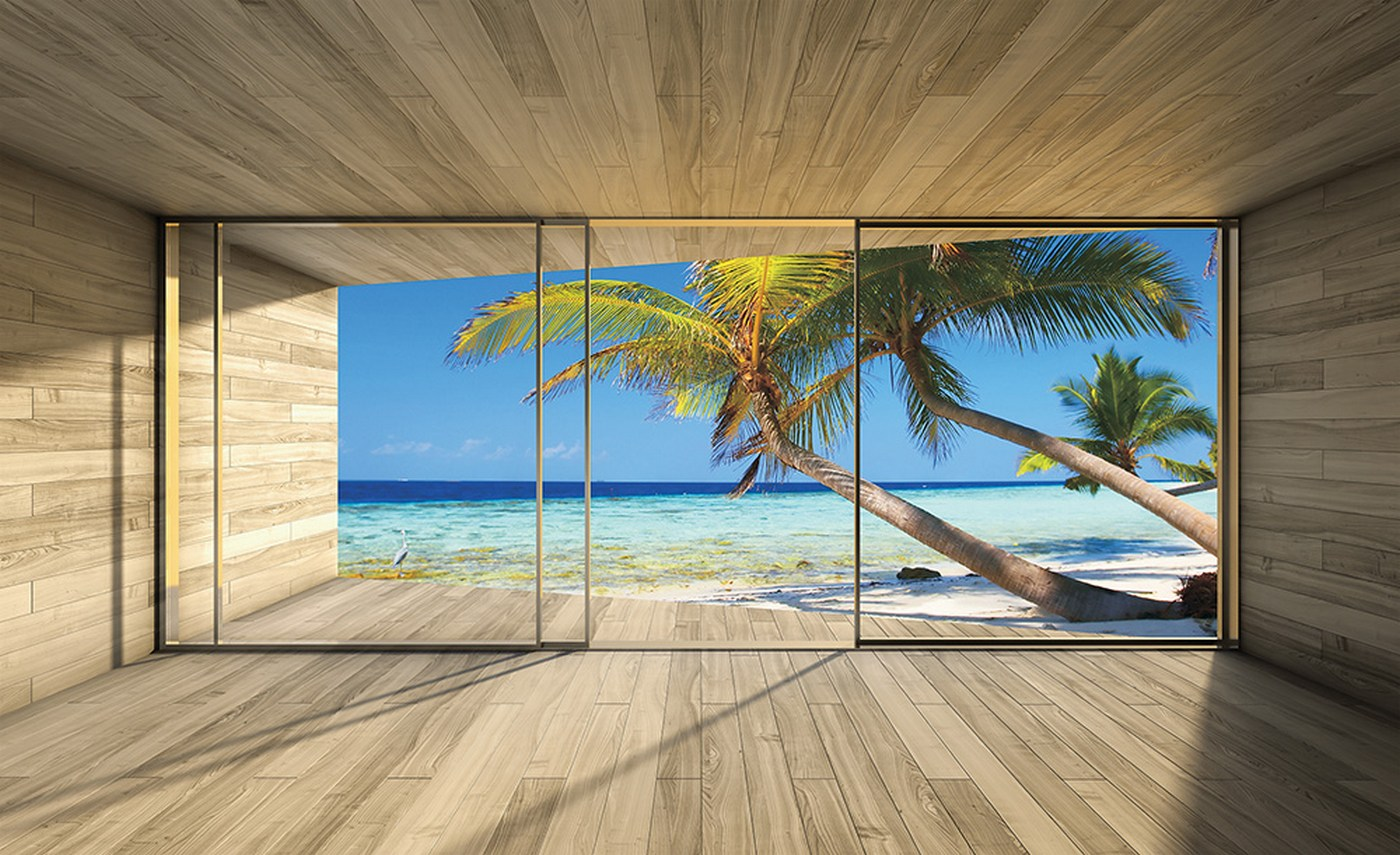 Vlies Fototapete 2800   Meer Tapete Strand Meer Palmen Wasser Raum Holz Blau