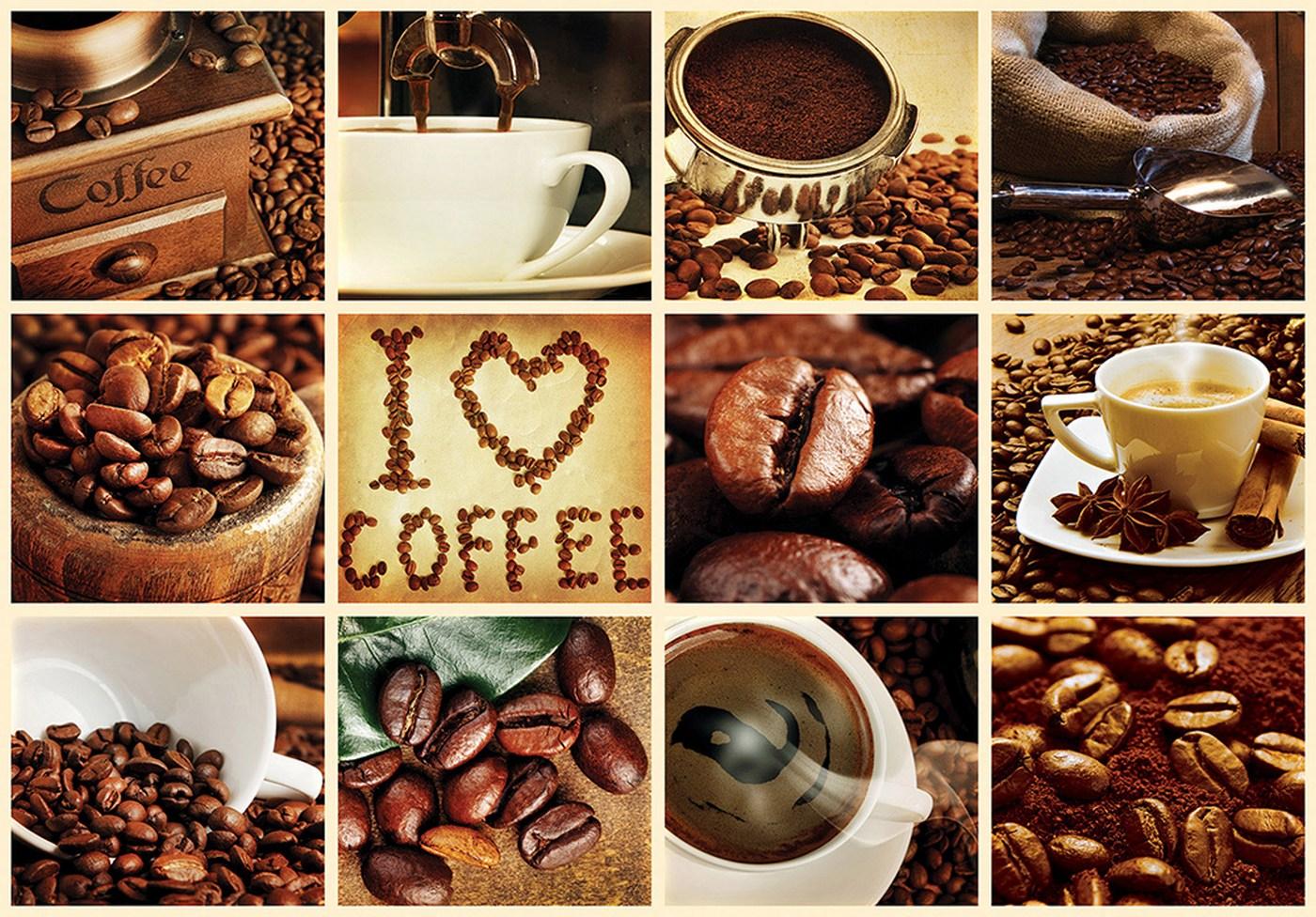 Vlies Fototapete 3279   Kulinarisches Tapete Kaffee, Barista, Kaffeebohnen,  Rahmen Weiß Braun