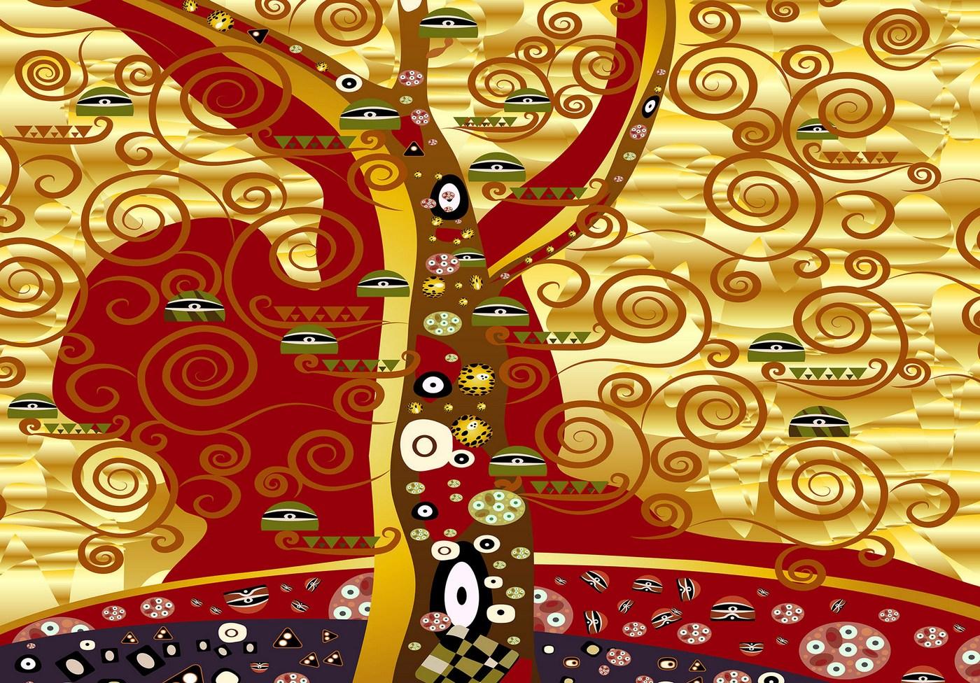 vlies fototapete 4491 gemlde kunstwerke tapete abstraktion modern muster augen rot - Tapete Rot Muster