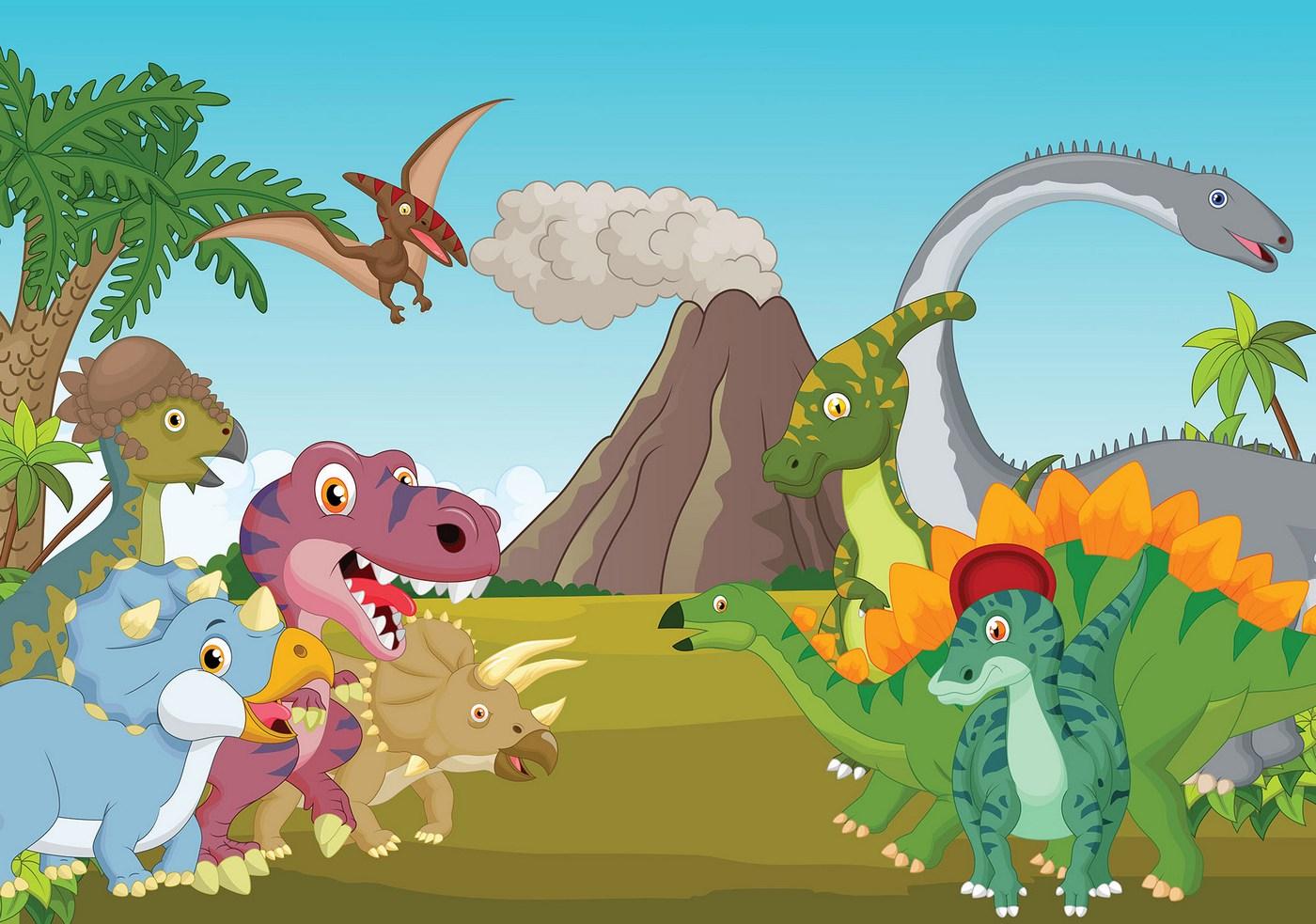 Vlies Fototapete 4530 - Kinder & Jugend Tapete Dinosaurier Vulkan Wald  Wiese bunt