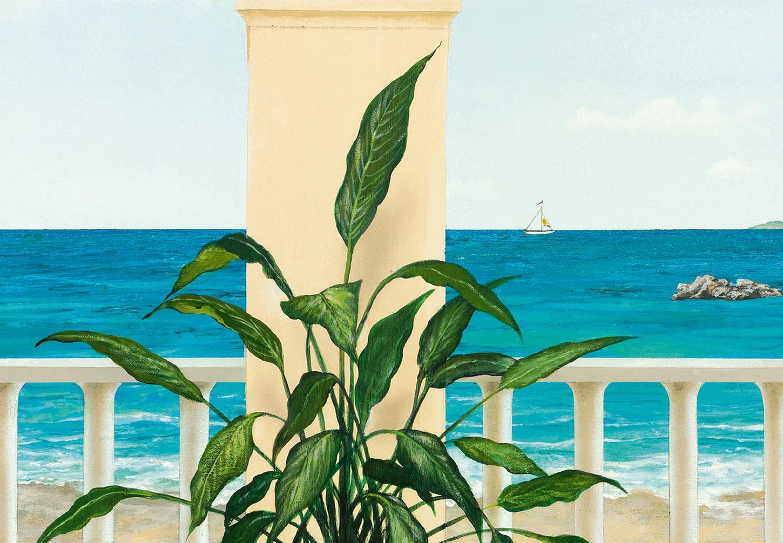 Fototapete TERRASSE PROVENCALE 366x254 Malerei Säulen im Garten,  malerischer Ausblick