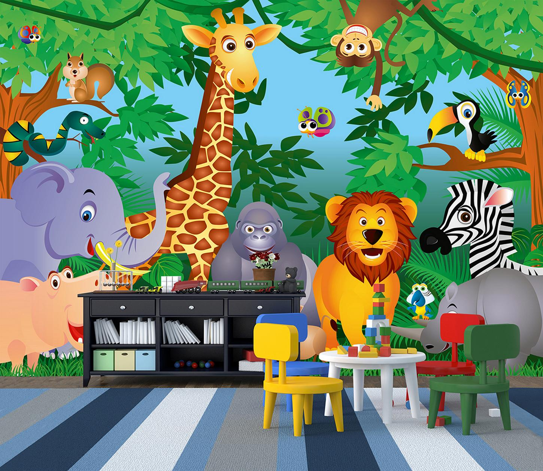 Fototapete Kindertapete IN THE JUNGLE 366x254 Kind Kinderzimmer Tiere aus  Afrika