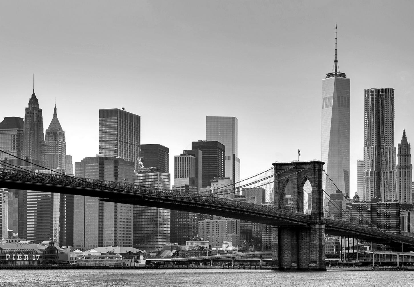kiss fototapeten zu besten preisen fototapete new york 366 x 254 cm brooklyn bridge. Black Bedroom Furniture Sets. Home Design Ideas