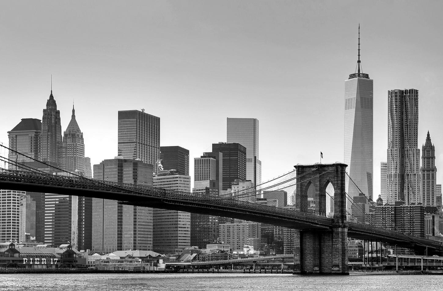 kiss fototapeten zu besten preisen fototapete new york 175x115cm brooklyn bridge skyline. Black Bedroom Furniture Sets. Home Design Ideas