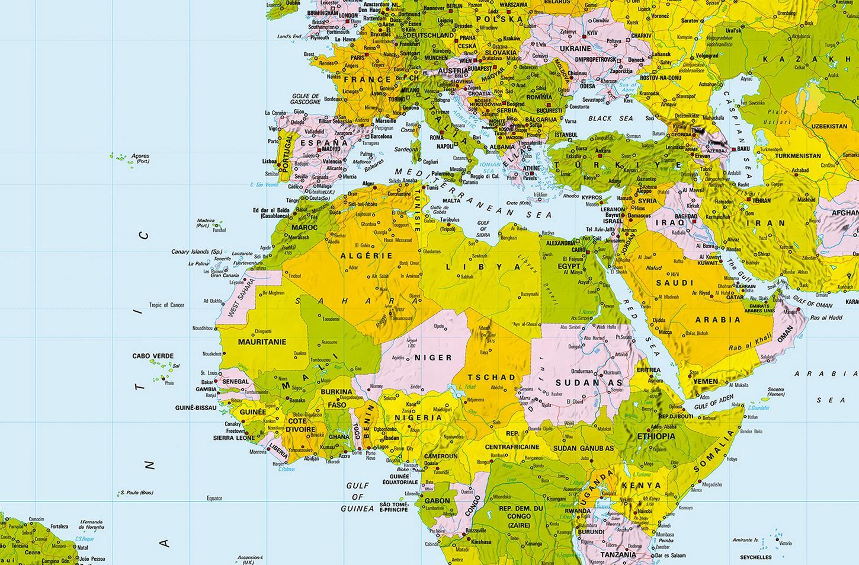 Verzauberkunst Weltkarte Mit Städten Beste Wahl Fototapete Map World 175x115 Grenzen Landkarte Xxl-poster