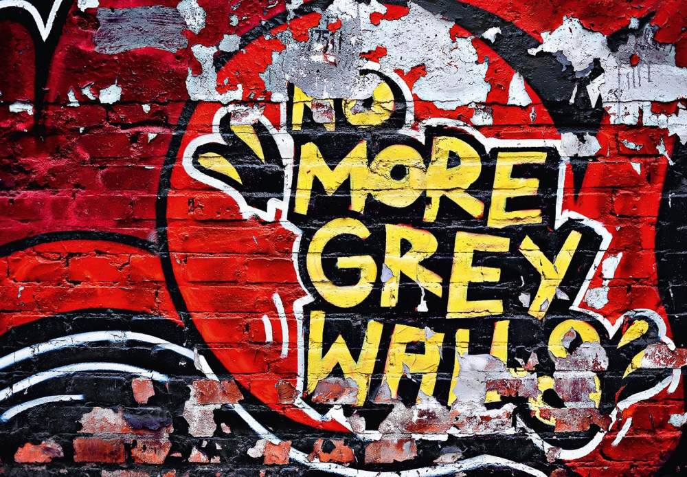 Fototapete NO MORE GREY WALLS 366x254 strahlendes Graffiti Backstein-Mauer Wand