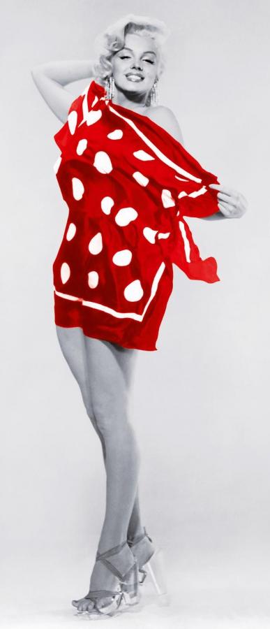 Fototapete Marilyn At The Beach 86x200 Monroe Rot Weiss Badetuch Colorierte Schwarz Weiss