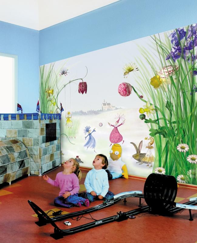 kiss fototapeten zu besten preisen fototapete kindertapete elfenwiese princess 254x184. Black Bedroom Furniture Sets. Home Design Ideas